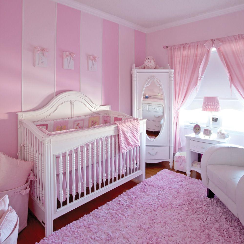 déco chambre de bébé fille avec rayures | Décor rose romantique ...