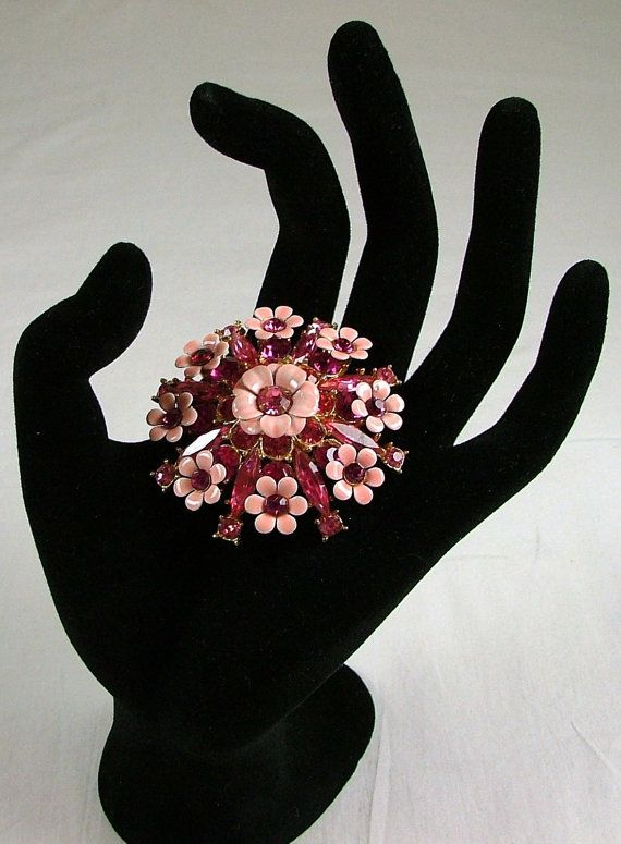 Pink Enamel and Rhinestone Flower Brooch by katscache. Explore more products on http://katscache.etsy.com