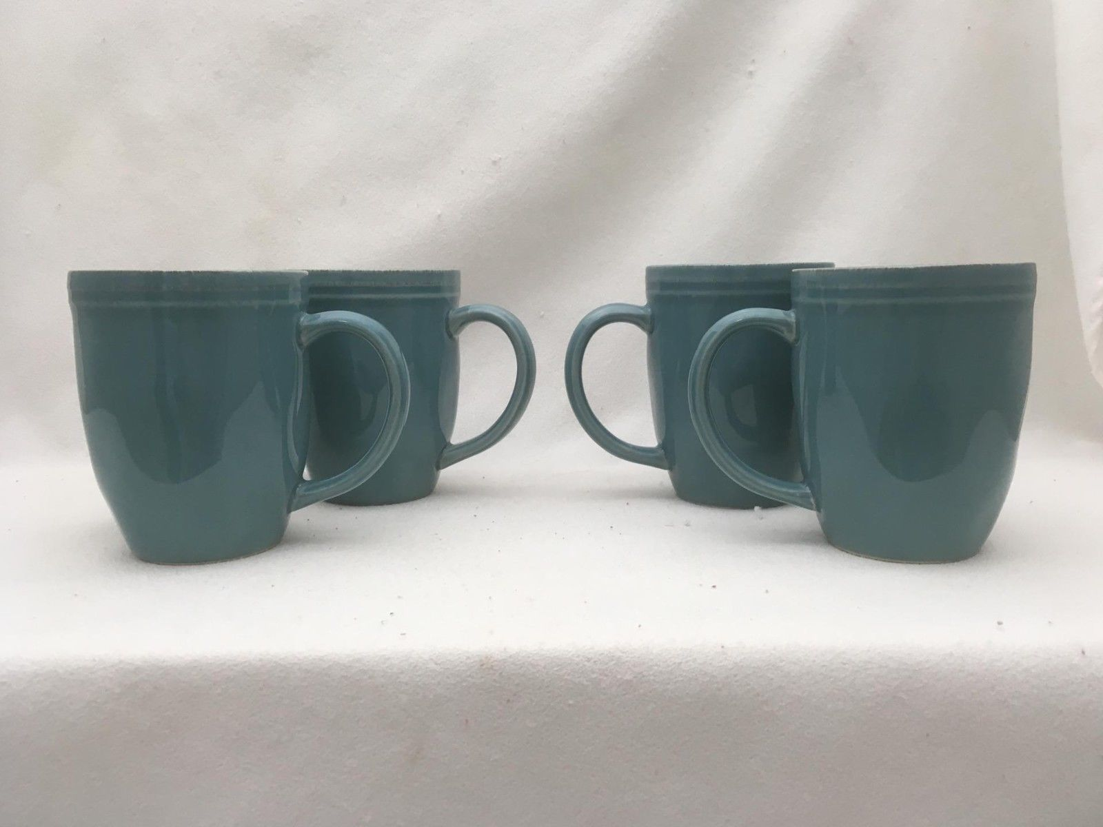 Lot Of 4 Rachael Ray Teal Double Ridge Coffee Mugs Cups Cucina
