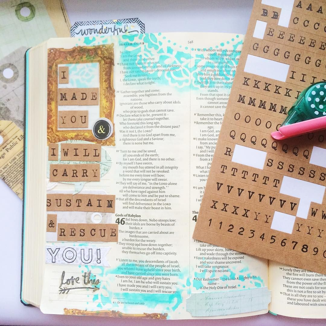 Isaiah 46, 4 'I have made you and I will carry you; I will sustain you and I will rescue you.' | Finally was able to journal in my bible again after waaaay to long! Used one of our gorgeous new kits from our teeny tiny store  Für alle die in Deutschland leben - schaut doch mal vorbei! Link im Profil ✌️ #lostandfound #7dotsstudio #bibleartjournalingdeutsch #bibleartjournaling #illustratedfaith #ilovealphasticker #singlegirlsb #judithandherbible #vsco #vscocam #sociality