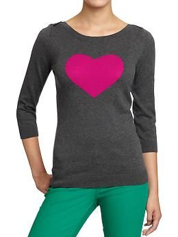 Women's Boat-Neck Sweaters | Old Navy Heart sweater just like the ...