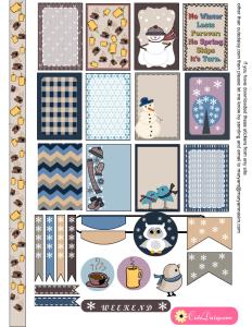 Free Printable Winter Sticker Sampler Kit for Happy Planner