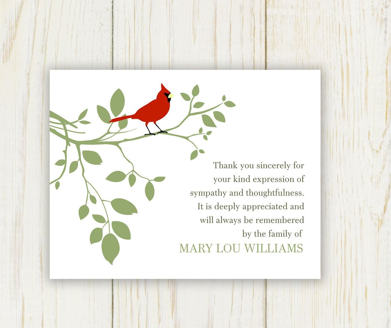 Red bird funeral thank you card digital sympathy card funeral izmirmasajfo Gallery