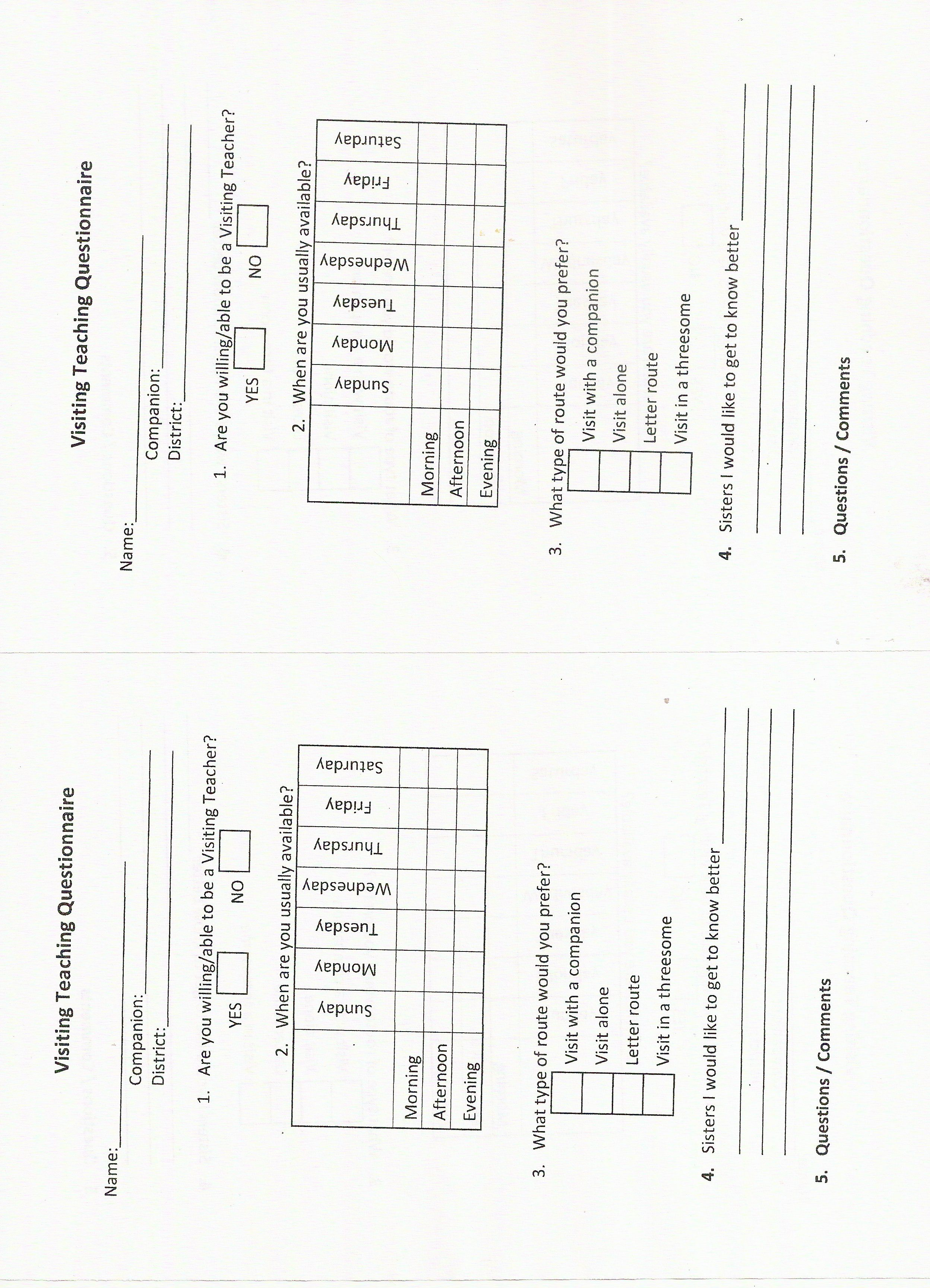 Visiting Teaching coordinator questionnaire to help in