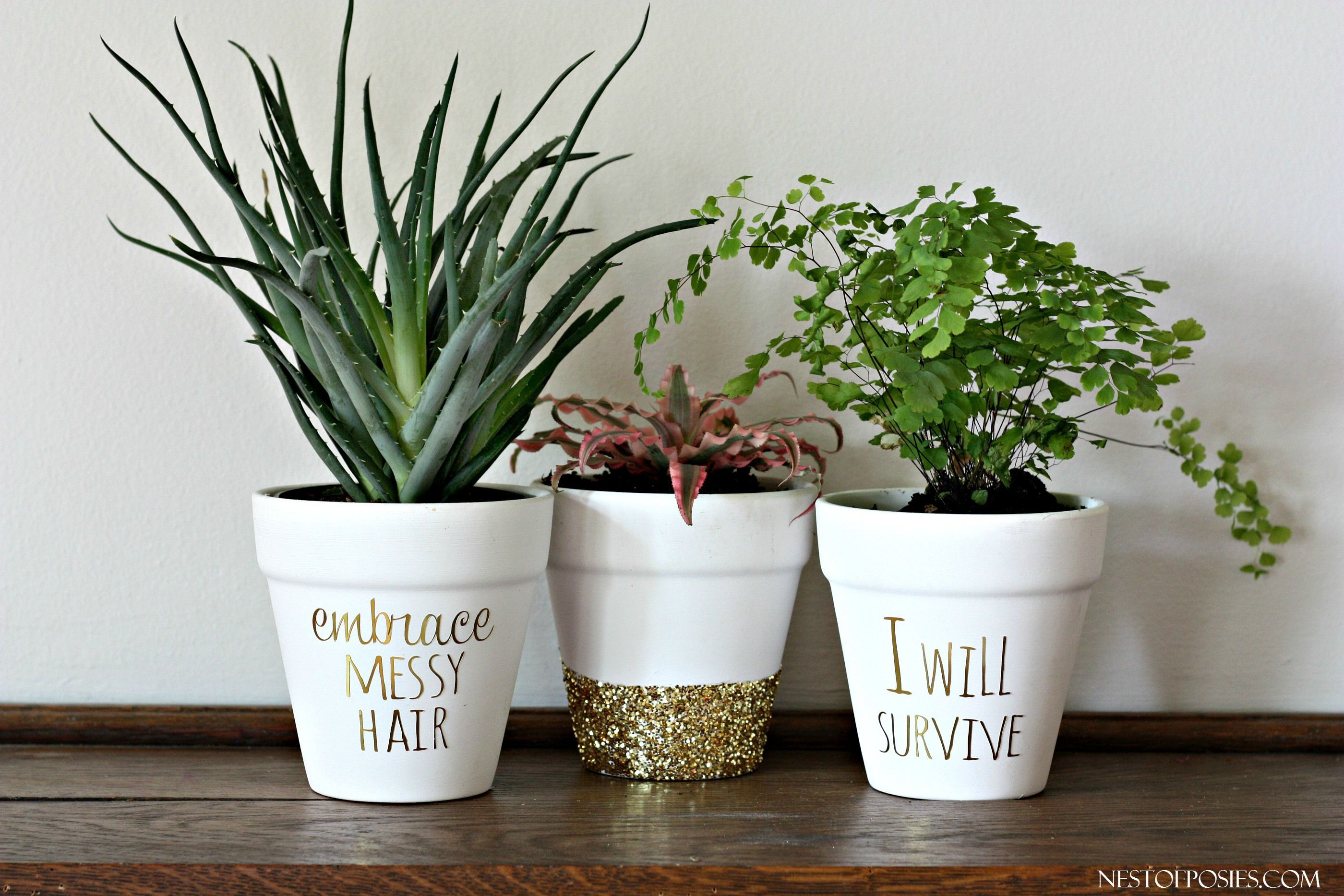 DIY Gold Foil Lettering on Flower Pots . Using this idea for the kitchen  herbs