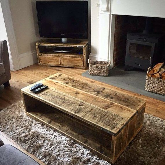 MARIBEL | Handmade Reclaimed Wood Coffee Table | Rustic Modern Farmhouse Industrial Living Room Furniture