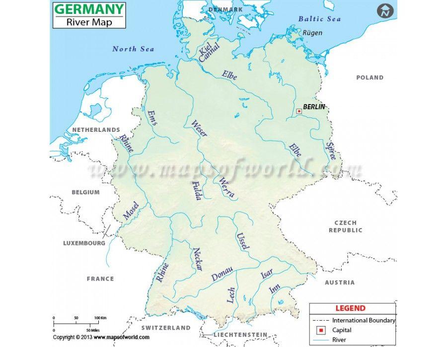 Germany River Map | #store mapsofworld | Pinterest | Map, Germany ...