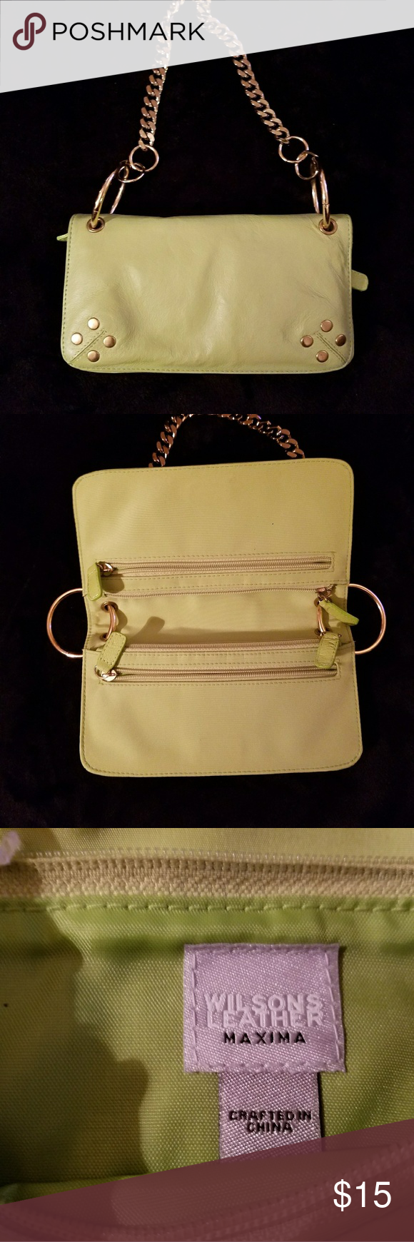 Wilson leather purse Lime green/ party bag/ NWN Wilson