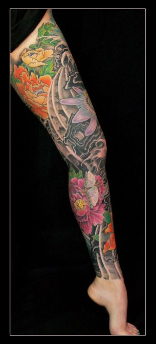 3e2559340 floral full leg tattoo | full leg tattoo color tattoo floral tattoo  japanese tatoo waves