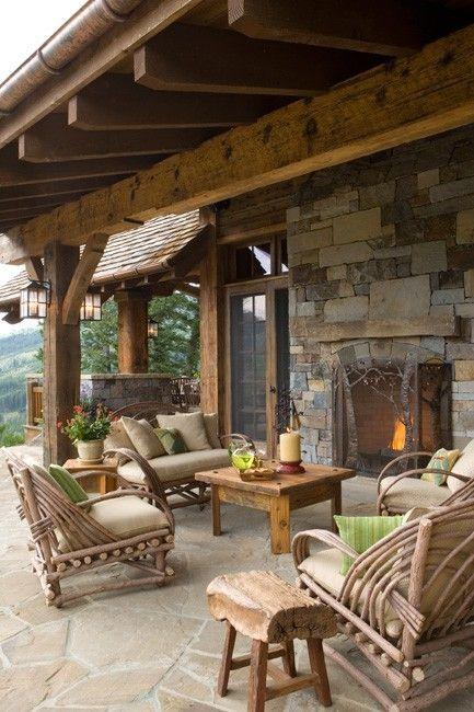 Log Cabin Outdoor Area Ideas Patio Rústico Patios Y