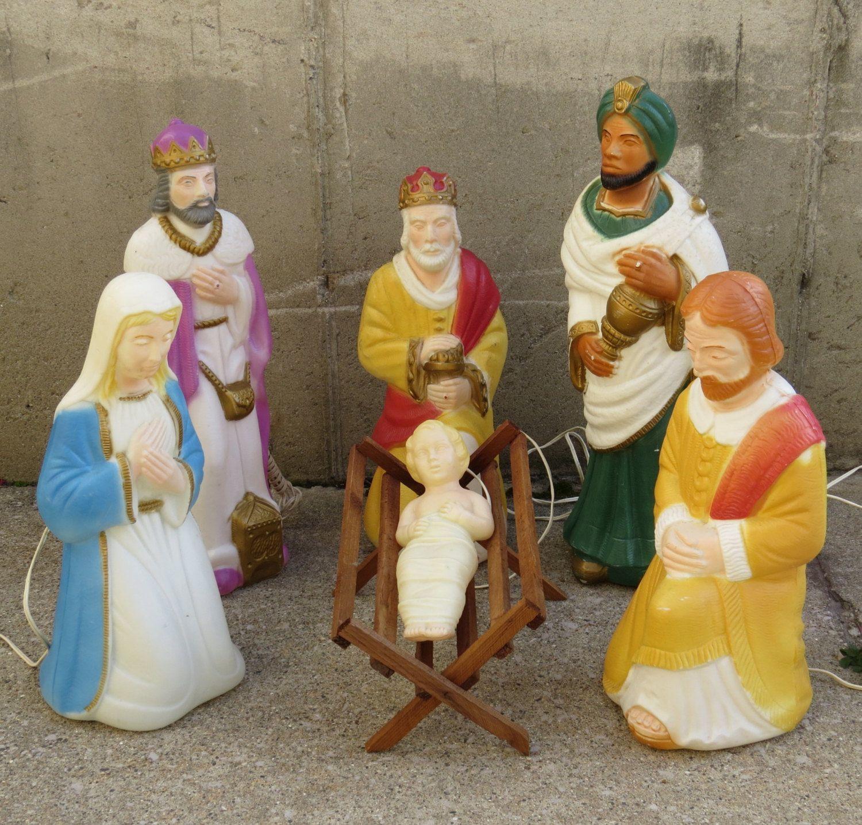 Six Piece Blow Mold Nativity Set By Poloron Vintage 1960s Kitschy