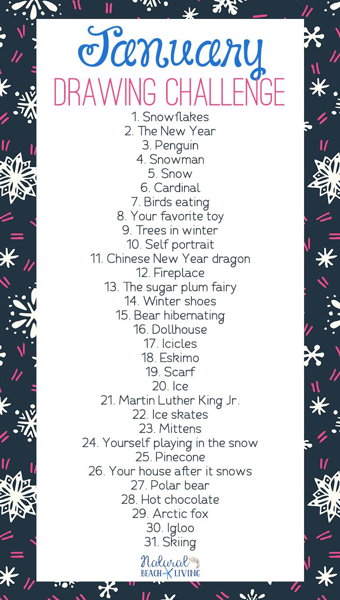 January Drawing Challenge for Kids and Adults #drawingprompts