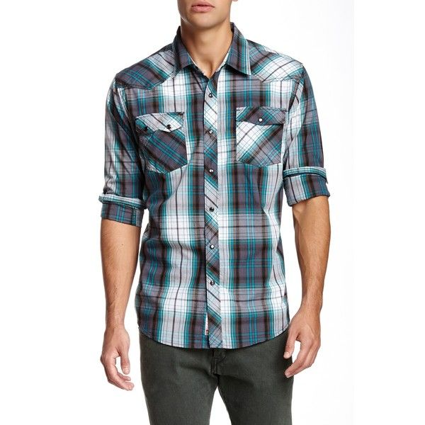 Micros Catastrophe Plaid Long Sleeve Shirt ($11) ❤ liked on Polyvore featuring men's fashion, men's clothing, men's shirts, men's casual shirts, dark teal, mens long sleeve cotton shirts, mens longsleeve shirts, mens tartan shirt, mens long sleeve shirts and mens plaid shirts