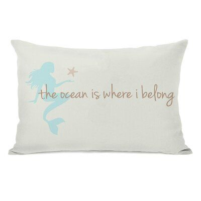 Highland Dunes Ehrenfeld Ocean is Where I Belong Mermaid Lumbar Pillow