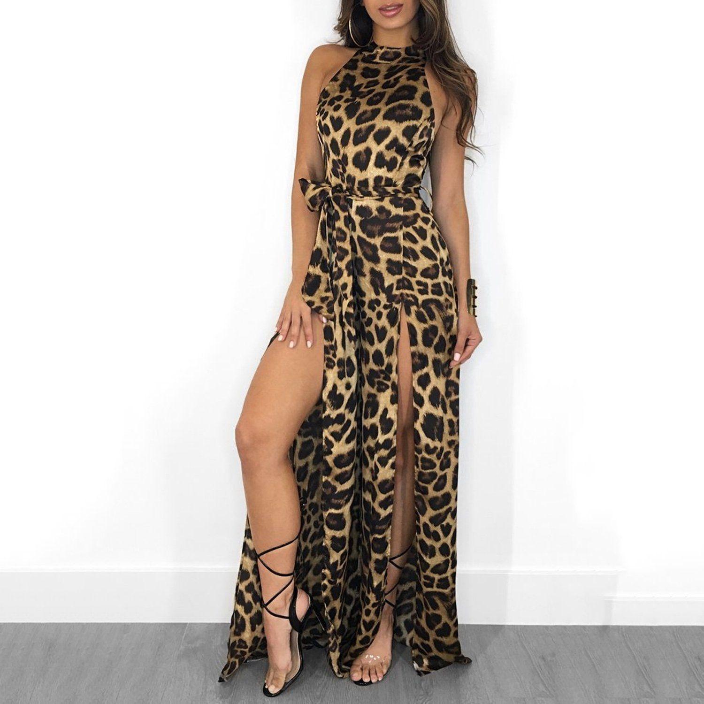 Women Leopard Print Sleeveless Jumpsuit Ladies Summer Slim Fit Playsuit Romper