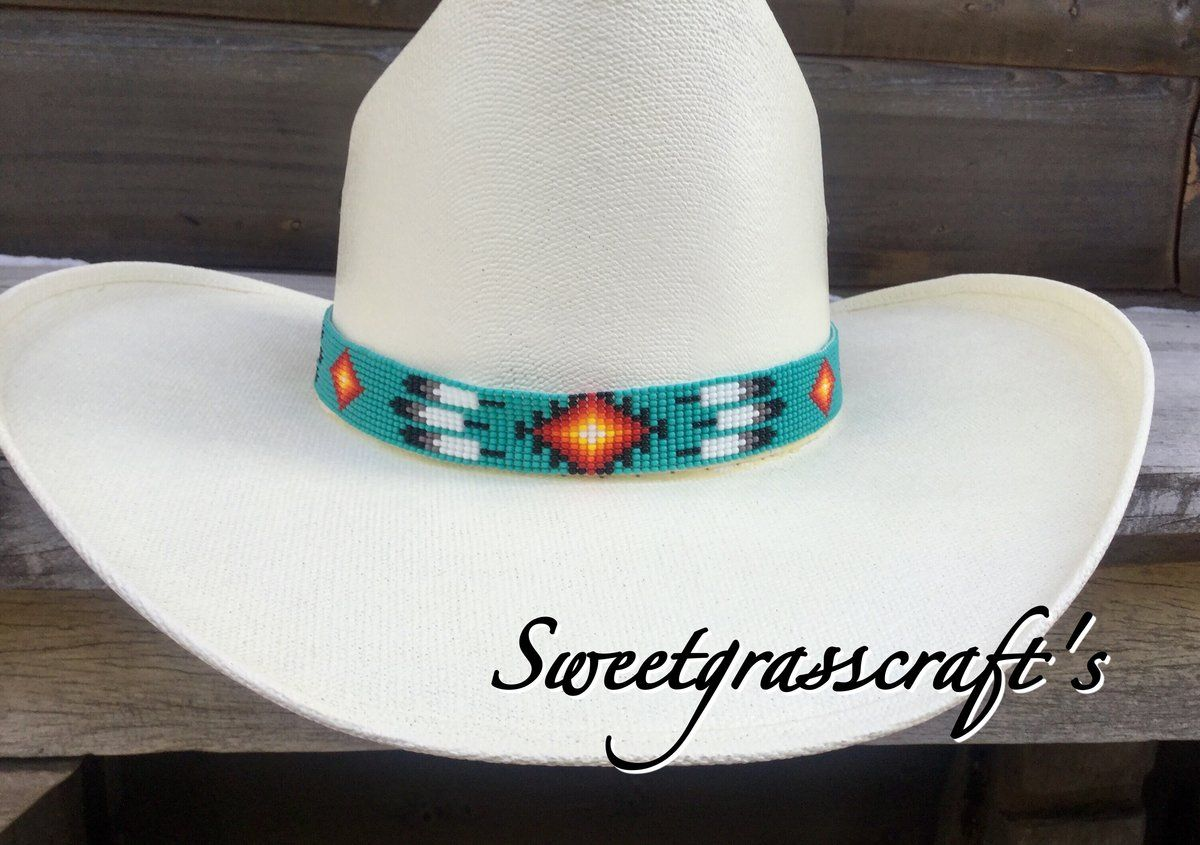 Turquoise Feather Beaded Hat Band Beaded Hat Bands Beaded Hat Hat Band
