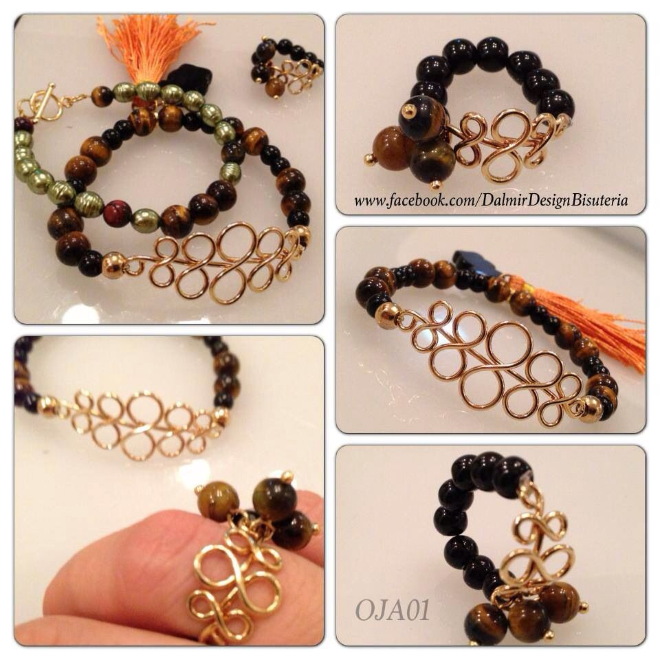 c84b70d6a602 Pareja de pulsera y anillo Piedras  cristal jade