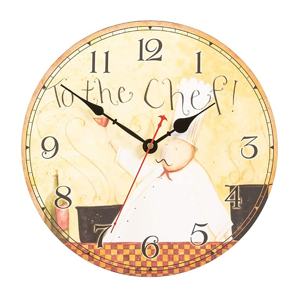 Ki Store Chef Wall Clock For Kitchen Dinning Restaurant Caf Decorative Wall Clock 12 Inch Battery Operated To The Chef In 2020 Clock Kitchen Clocks Clock Wall Decor