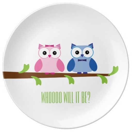 Whoooo Will It Be - Shower & Gender Reveal - Owl Porcelain Plate