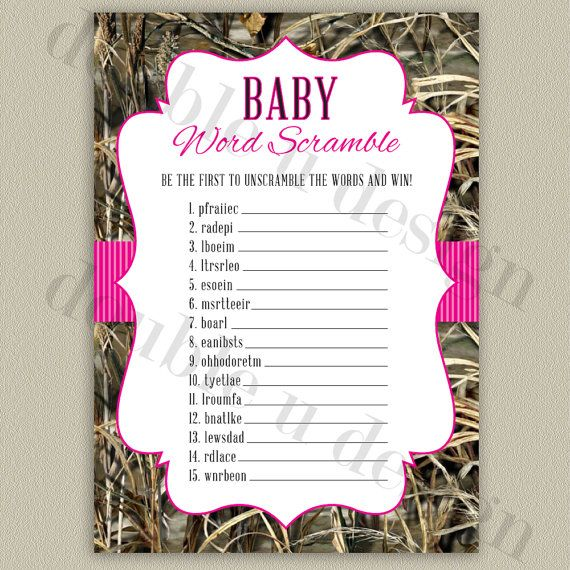 INSTANT DOWNLOAD - Camouflage Baby Word Scramble with hot pink - download free baby shower invitations