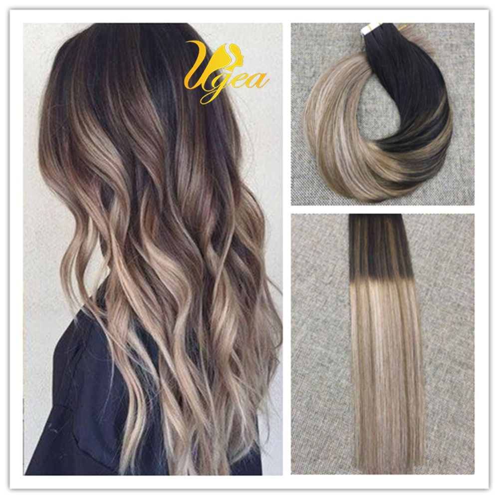 Balayage Ombre Tape In Remy Human Hair Extensions Brown Ash Blonde