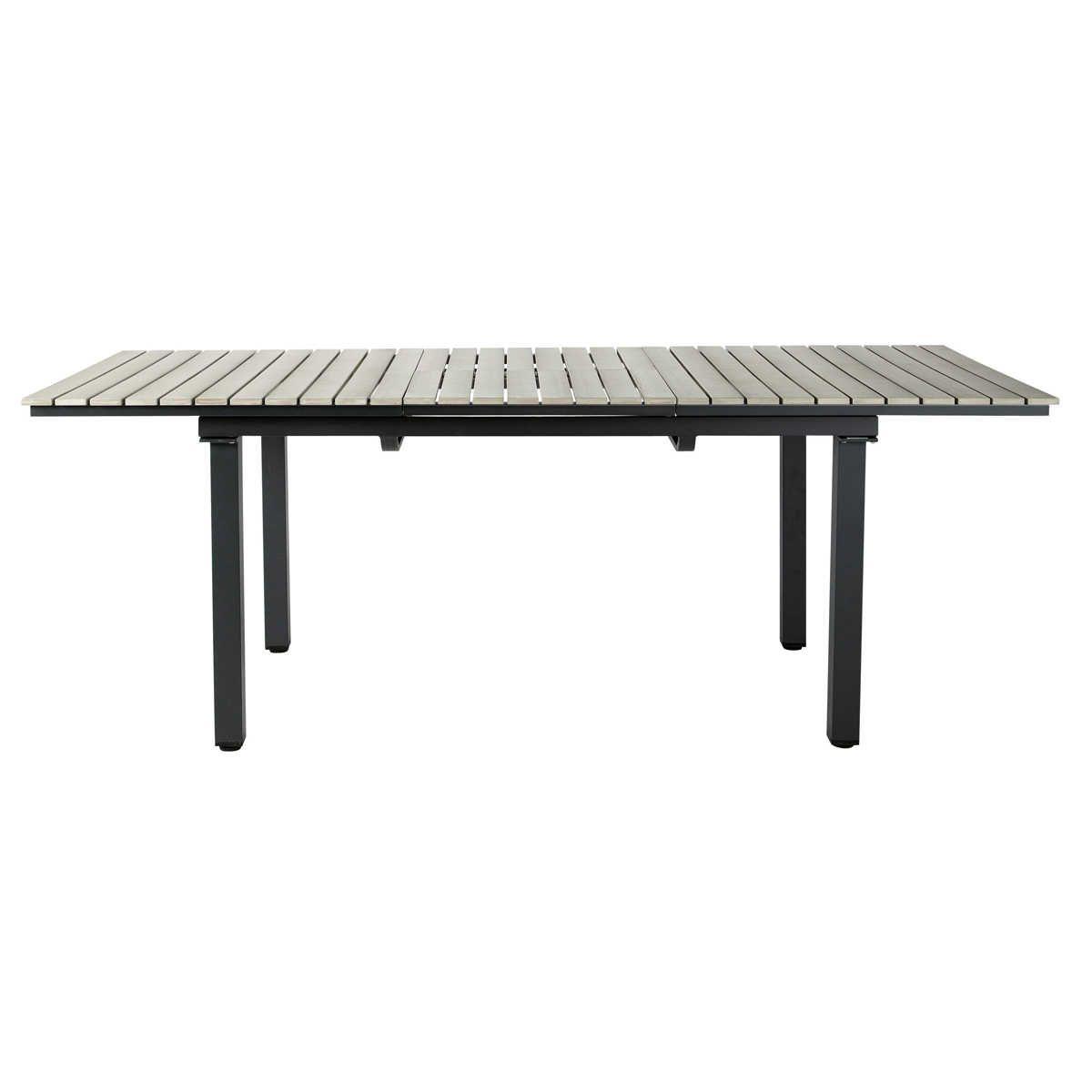 Gartentisch aus Plastik in Holzoptik und Aluminium, B 213 cm, grau ...