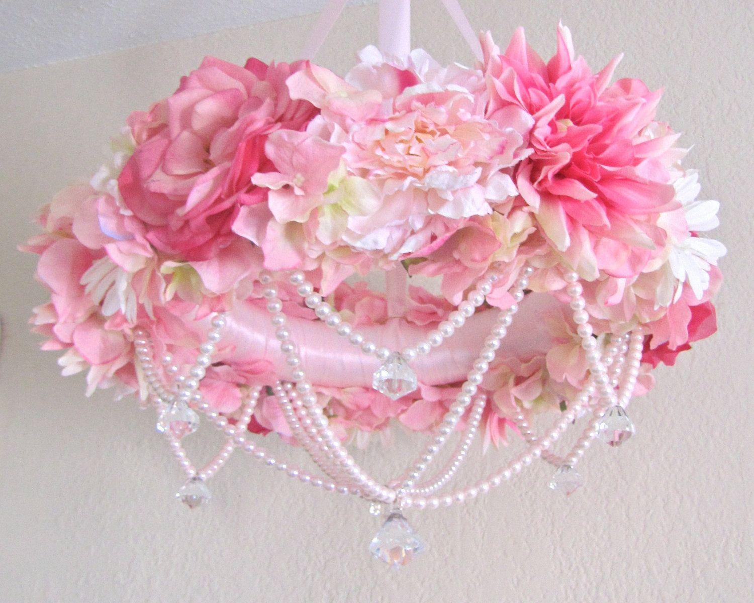 baby mobile flower crib mobile floral chandelier shabby chic pink baby girl nursery decor pearls. Black Bedroom Furniture Sets. Home Design Ideas
