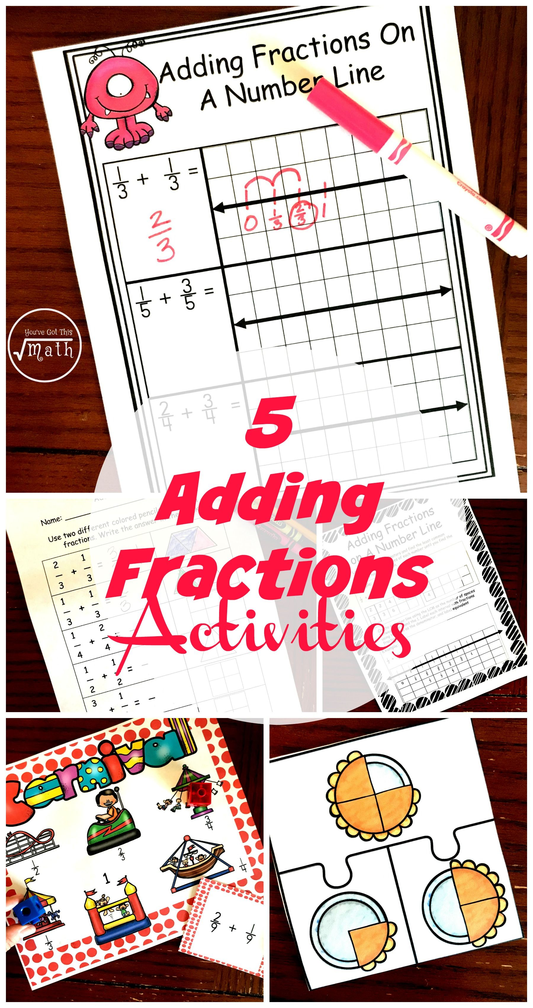 5 Adding Fractions Using Number Lines And Models With