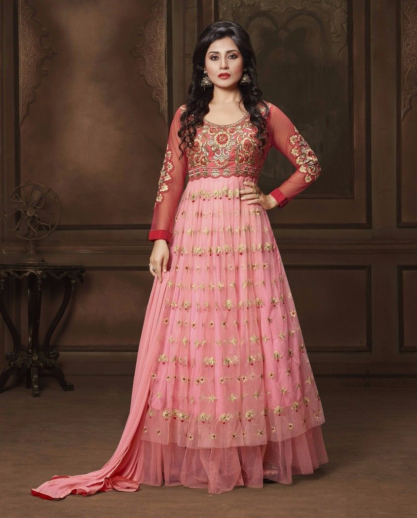 6fab1a6f3951b Light Pink Gown Style Floor Length Anarkali Suit 1. Light pink poly  georgette embroidered suit2. Comes with matching santoon bottom and chiffon  dupatta3.