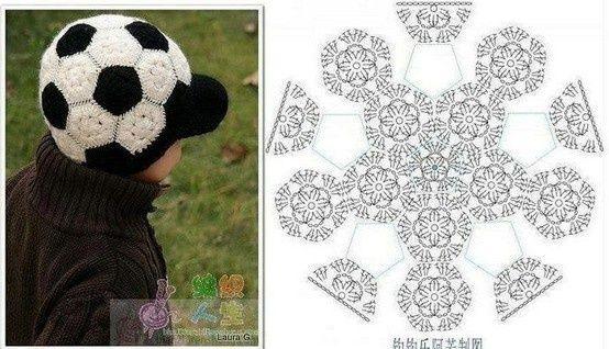 Patrón   Pattern  Gorro pelota de fútbol   Crocheted football cap ... 57a6ed933c3