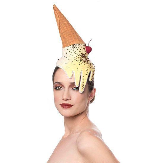 MADE TO ORDER Ice Cream Cone Fascinator, Melting Dessert Headpiece, Unique Food Hat - love this!