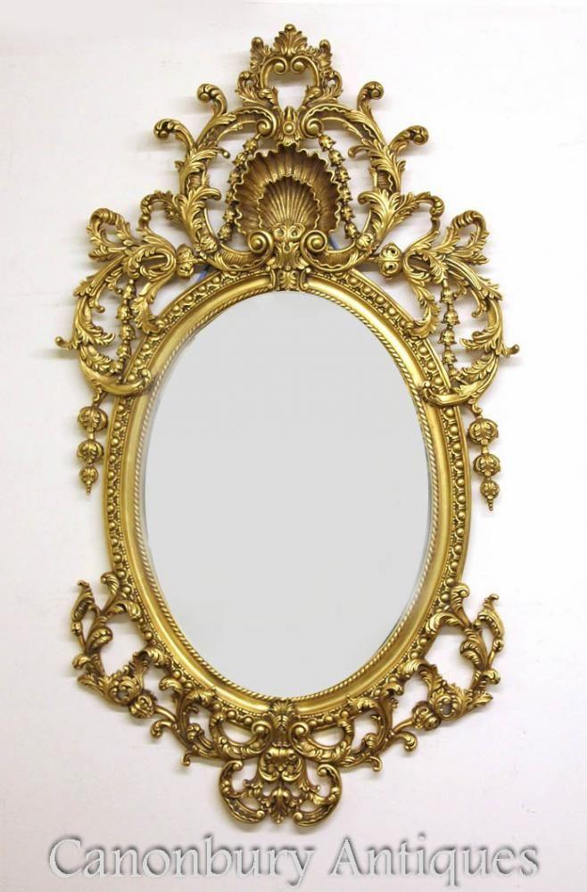 55efdfdd11c9 Large French Louis XVI Rococo Oval Mirror Gilt Frame