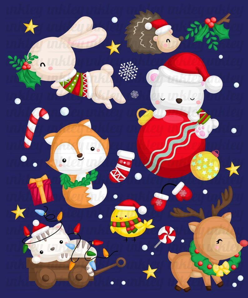 Winter Animal Clipart Christmas Animal Clip Art Santa Etsy Christmas Clipart Christmas Animals Animal Clipart