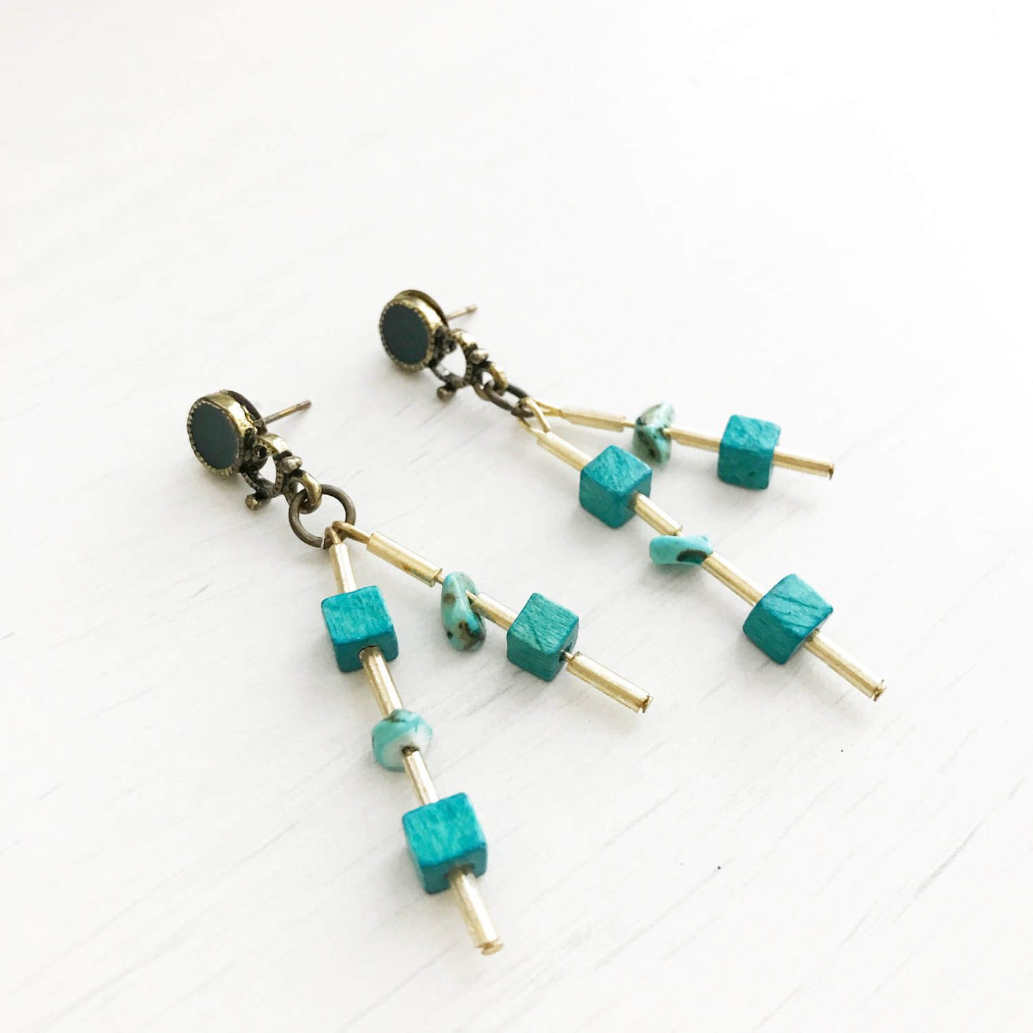 d5b495850 Fiona Earrings // Turquoise Semi Precious Stones by Plumeuphoria on Etsy