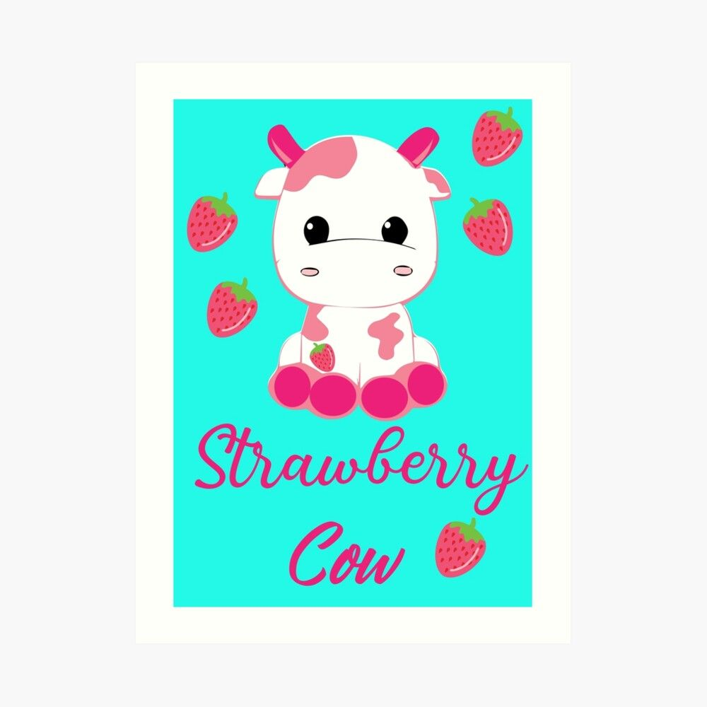 Strawberry Cow Pillow Pet Pink Art Print By Spoklo In 2020 Pink Art Print Animal Pillows Pink Art
