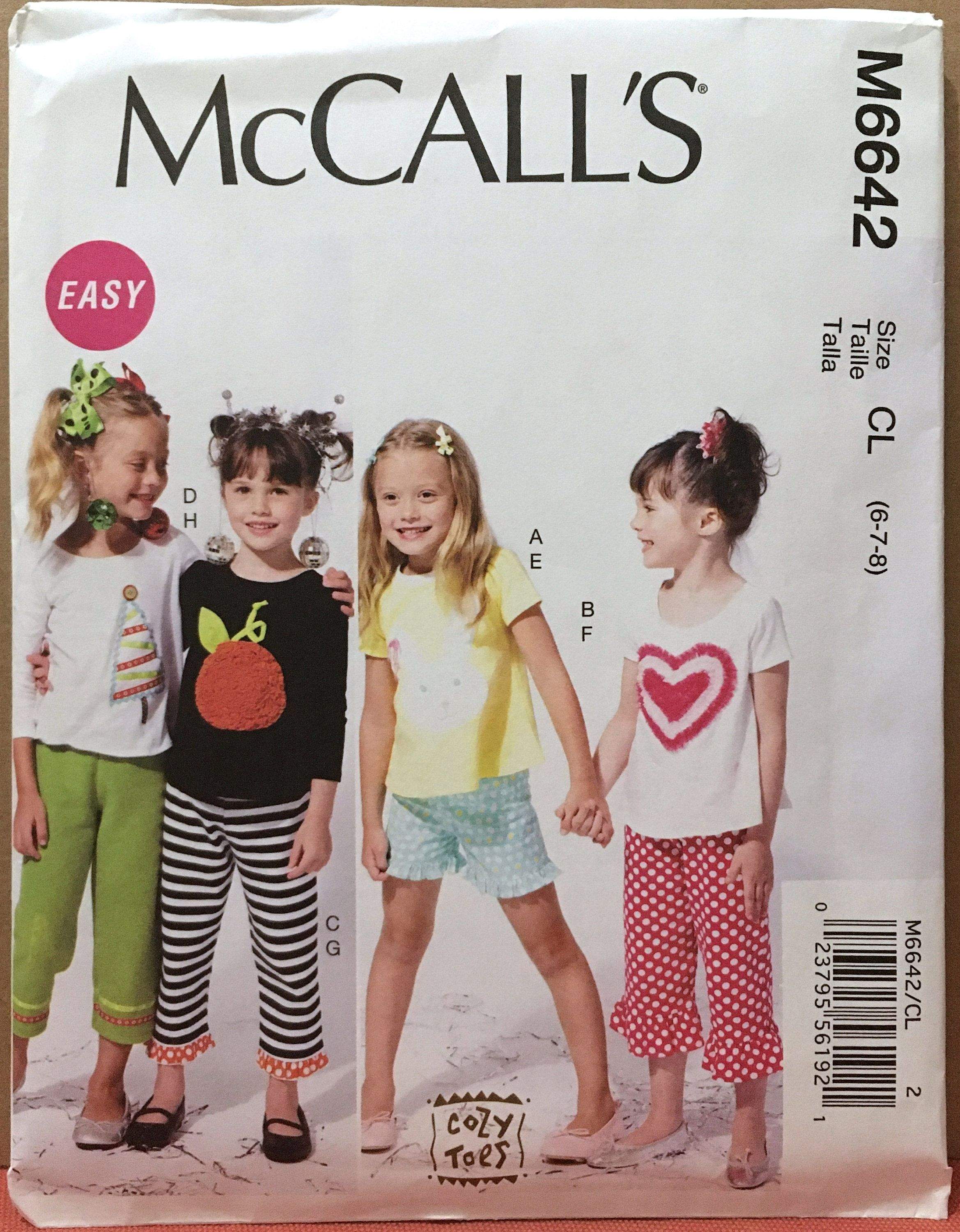 McCall/'s 6642 Girls/' Tops Shorts and Pants     Sewing Pattern