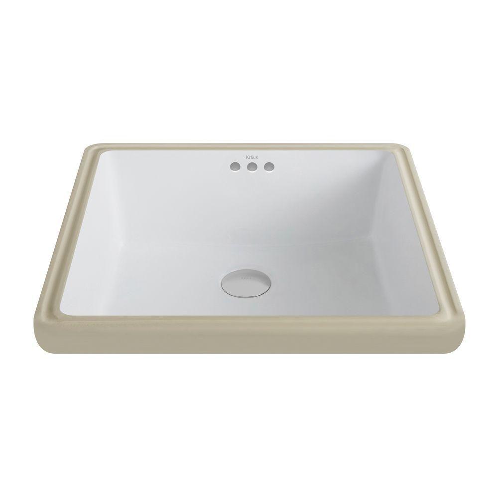 Elavo Ceramic Square Undermount Bathroom Sink With Overflow In