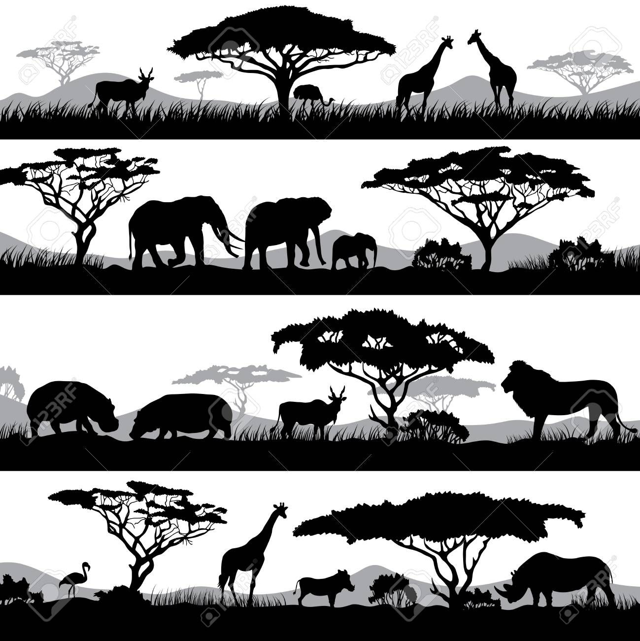 Wild African Life Background Silhouettes Of Different Animals And