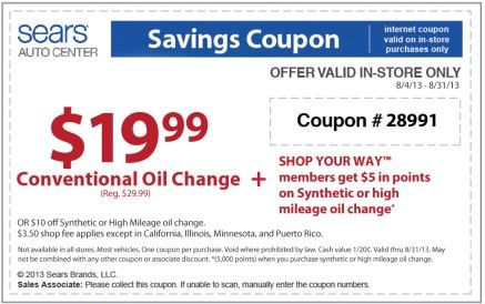 Sears Oil Change Discount Coupon August 2013 Coupons Oil Change Sears