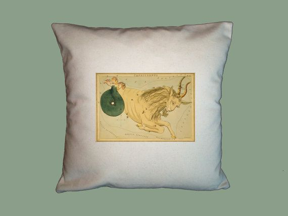 Vintage Capricorn Astrological Sign Canvas Pillow Slip 16x16 by WhimsyFrills, $20.00