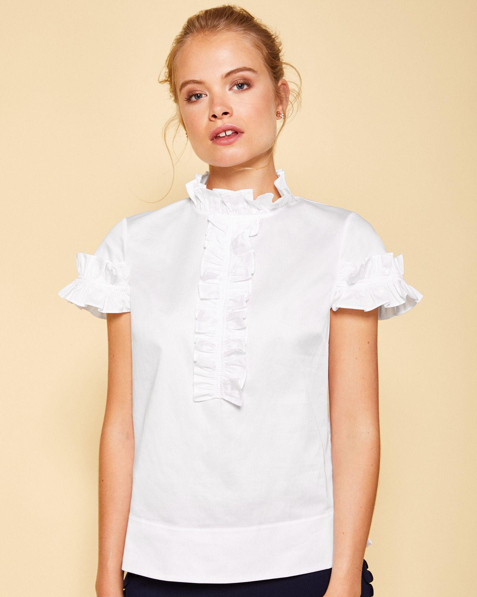 b2d56ec6416d54 Ted Baker Frill detail cotton blouse White | Products | Blusas