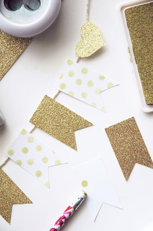 darling mini gold banner tutorial craft garlands. Black Bedroom Furniture Sets. Home Design Ideas