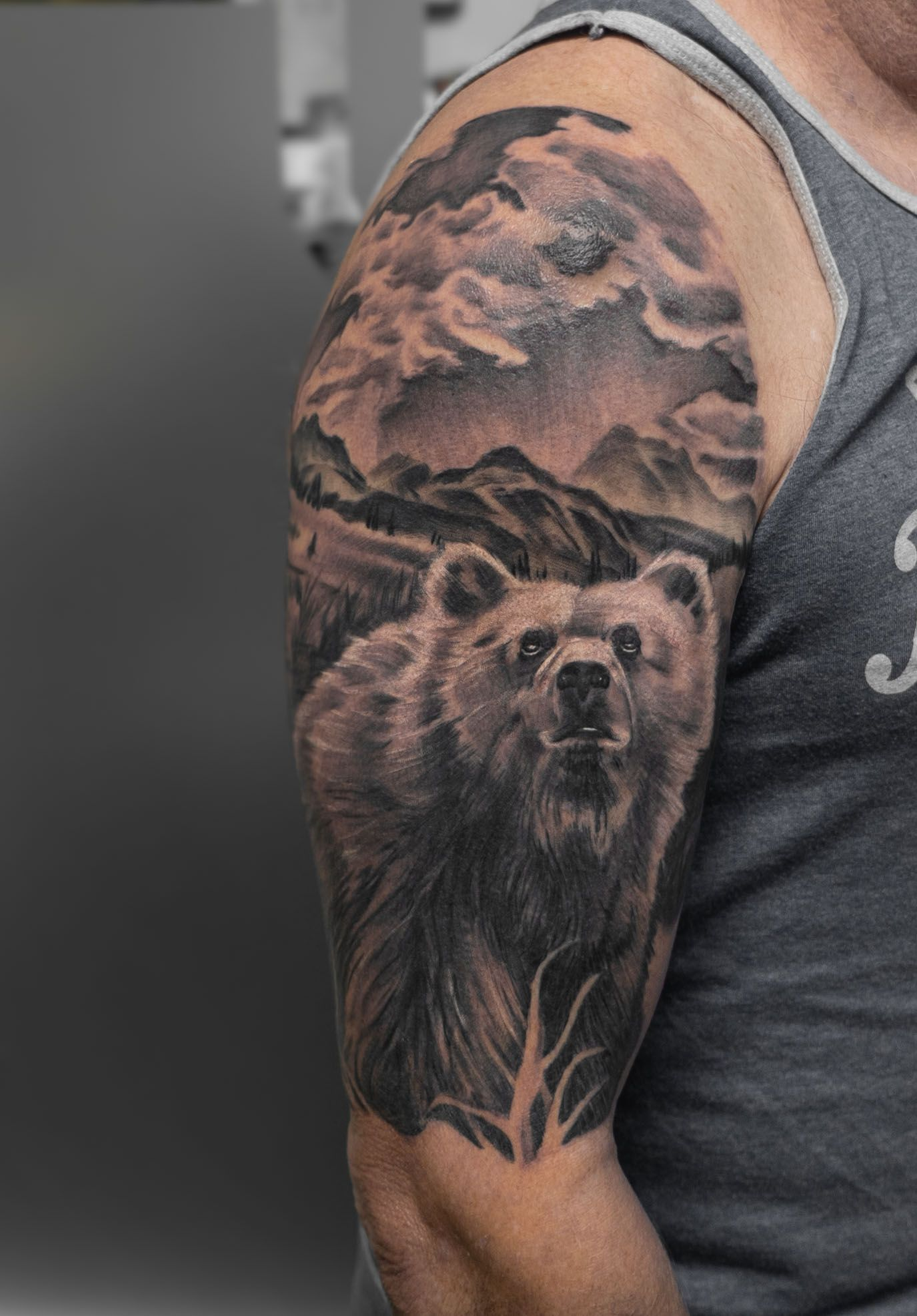 A Bear In The Wilderness Displayed In Black And Grey Realism Tattoos Tattooart Tattooer Tattoo Tattooartist Tatto Tattoo Studio Tattoos Tattoo Magazines