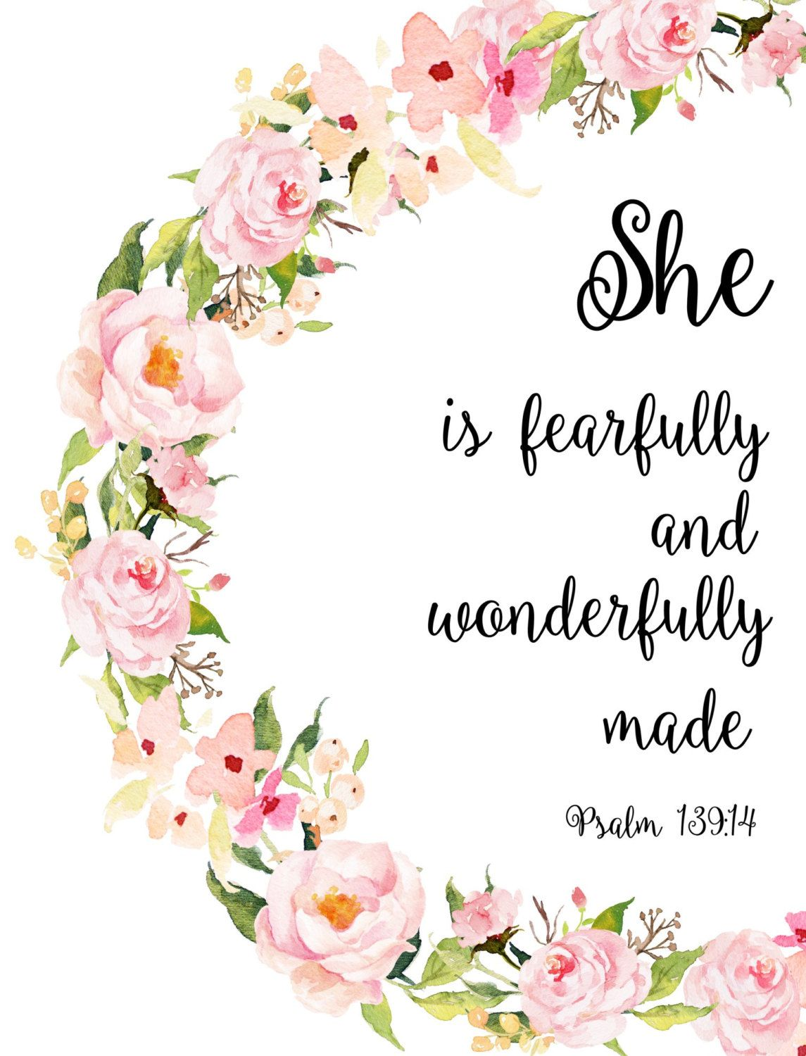 Girl Nursery Bible Verses, Fearfully and Wonderfully Made, Printable Art, Bible Verse, Floral Scripture,  instant Download, Wall Art