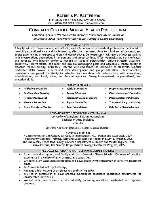 Therapist Counselor Resume Example Pinterest Resume examples - mental health practitioner sample resume