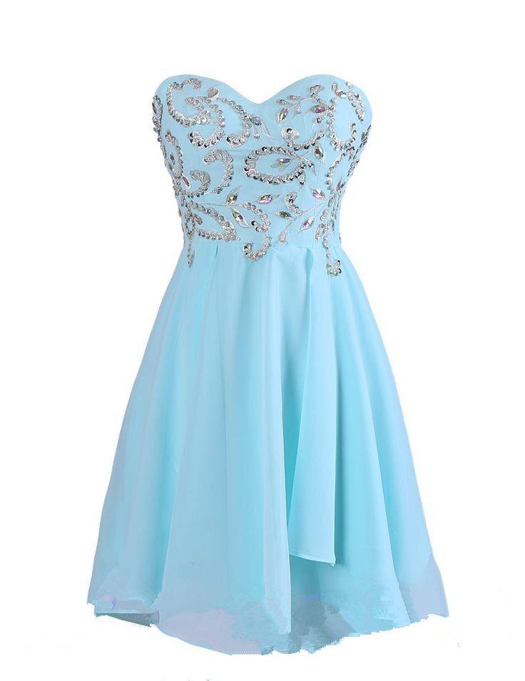 Blue Homecoming Dress Chiffon Homecoming Dresses Simple Homecoming ...