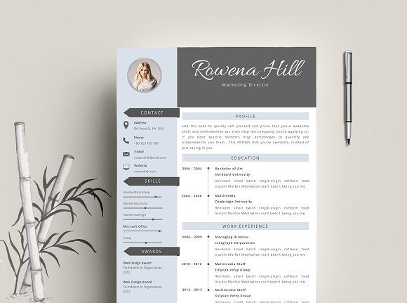 Resume Template + Business Card @Graphicsauthor Resume CV