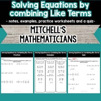 Solving Equations by Combining Like Terms Mini Unit   Pinterest ...