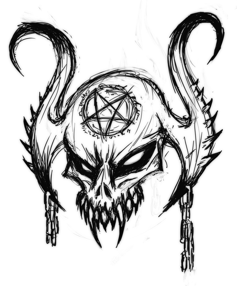 Satanic Skull By Mark Mrhide Patten On Deviantart Skulls Drawing Scary Drawings Dark Art Drawings