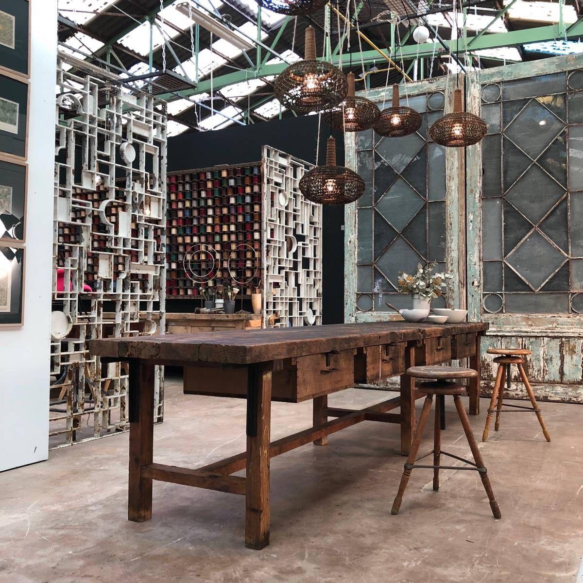 Grande Table D Atelier A 4 Tiroirs 1900 H80 X L400 X P81 Cm Espace Nord Ouest Mobilier De Salon Table Decoration